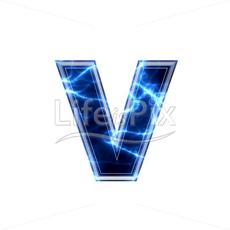 3d small letter with blue lightning texture on white background – v - Royalty free stock photos, illustrations and 3d letters fonts