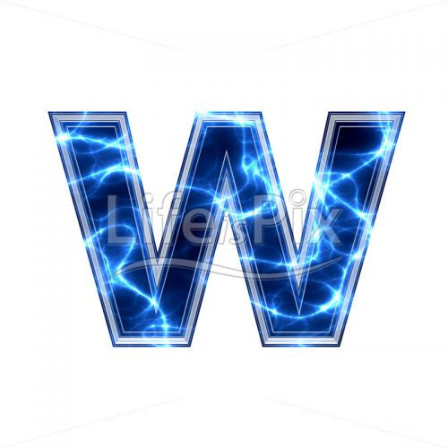 3d small letter with blue lightning texture on white background – w - Royalty free stock photos, illustrations and 3d letters fonts