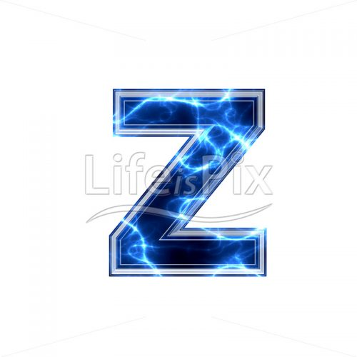 3d small letter with blue lightning texture on white background – z - Royalty free stock photos, illustrations and 3d letters fonts