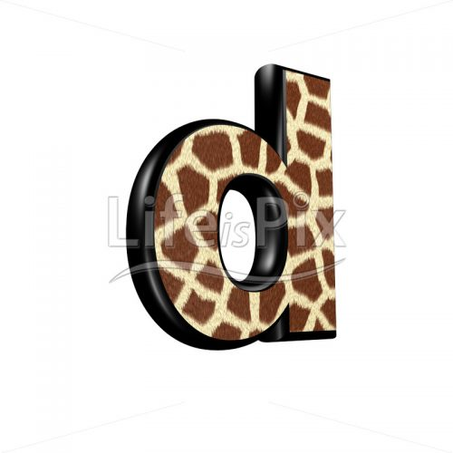 3d small letter with giraffe fur texture – d - Royalty free stock photos, illustrations and 3d letters fonts
