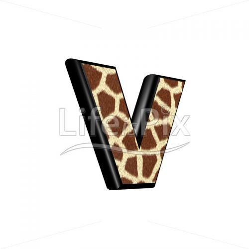 3d small letter with giraffe fur texture – v - Royalty free stock photos, illustrations and 3d letters fonts