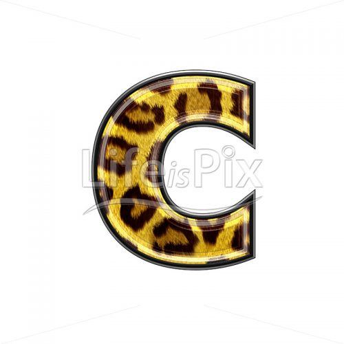 3d small letter with panther skin texture – C – Royalty free stock photos, illustrations and 3d letters fonts