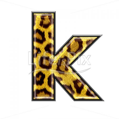 3d small letter with panther skin texture – K – Royalty free stock photos, illustrations and 3d letters fonts