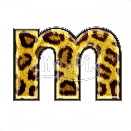 3d small letter with panther skin texture – M – Royalty free stock photos, illustrations and 3d letters fonts