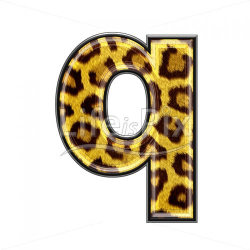 3d small letter with panther skin texture – Q – Royalty free stock photos, illustrations and 3d letters fonts