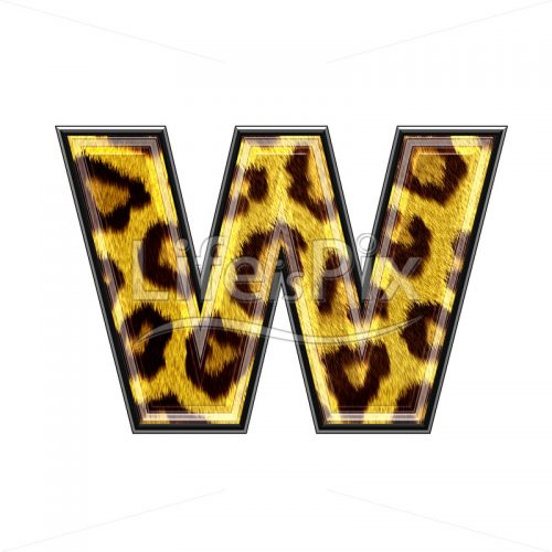 3d small letter with panther skin texture – W – Royalty free stock photos, illustrations and 3d letters fonts