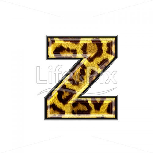 3d small letter with panther skin texture – Z – Royalty free stock photos, illustrations and 3d letters fonts