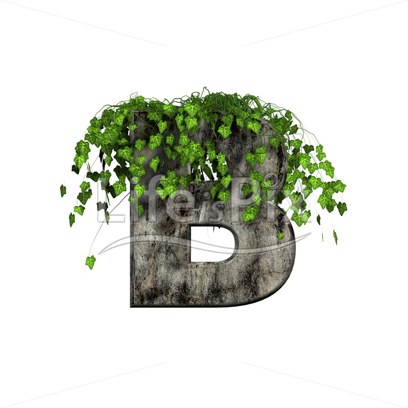 3d stone capital letter and green ivy – B - Royalty free stock photos, illustrations and 3d letters fonts