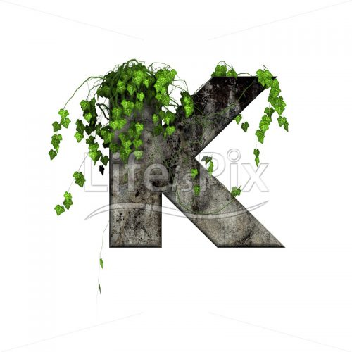 3d stone capital letter and green ivy – K - Royalty free stock photos, illustrations and 3d letters fonts