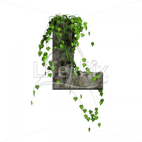 3d stone capital letter and green ivy – L - Royalty free stock photos, illustrations and 3d letters fonts