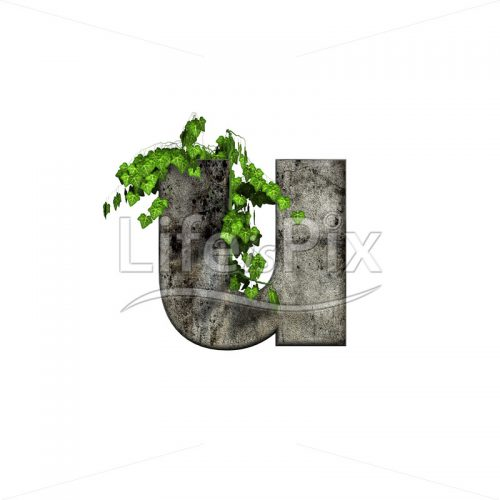 3d stone capital letter and green ivy – u - Royalty free stock photos, illustrations and 3d letters fonts