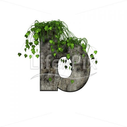 3d stone small letter and green ivy – b - Royalty free stock photos, illustrations and 3d letters fonts