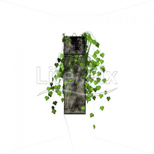 3d stone small letter and green ivy – i - Royalty free stock photos, illustrations and 3d letters fonts