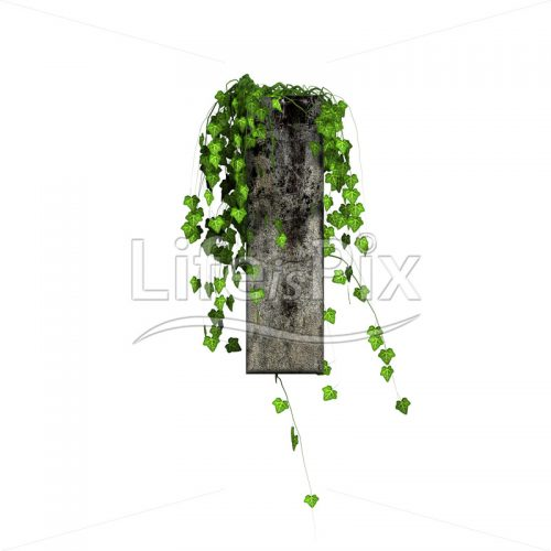 3d stone small letter and green ivy – l - Royalty free stock photos, illustrations and 3d letters fonts
