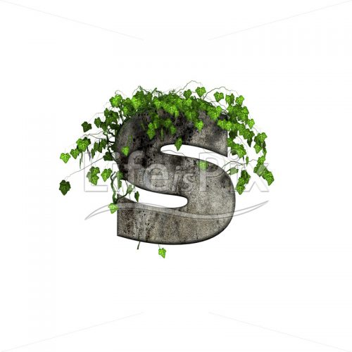 3d stone small letter and green ivy – s - Royalty free stock photos, illustrations and 3d letters fonts