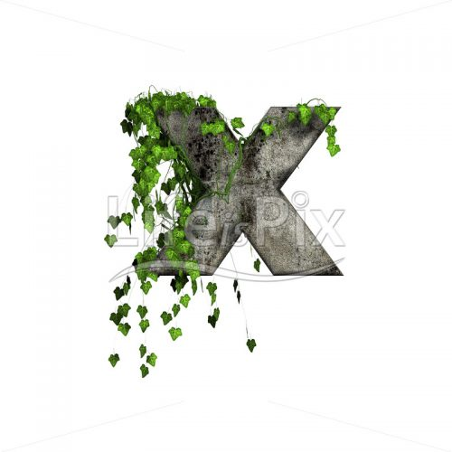 3d stone small letter and green ivy – x - Royalty free stock photos, illustrations and 3d letters fonts
