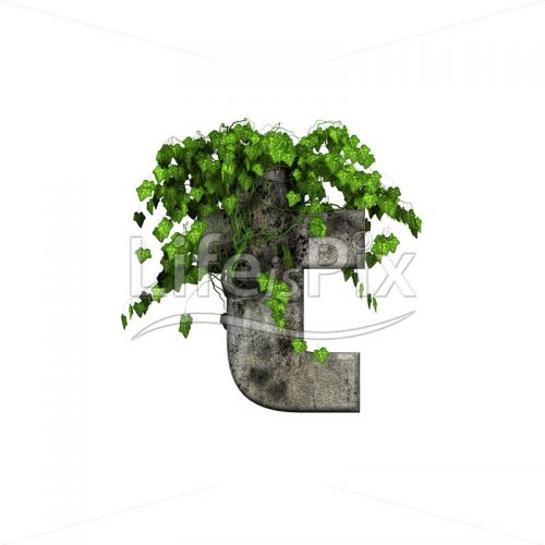 3d stone small letter and green ivy ? t - Royalty free stock photos, illustrations and 3d letters fonts