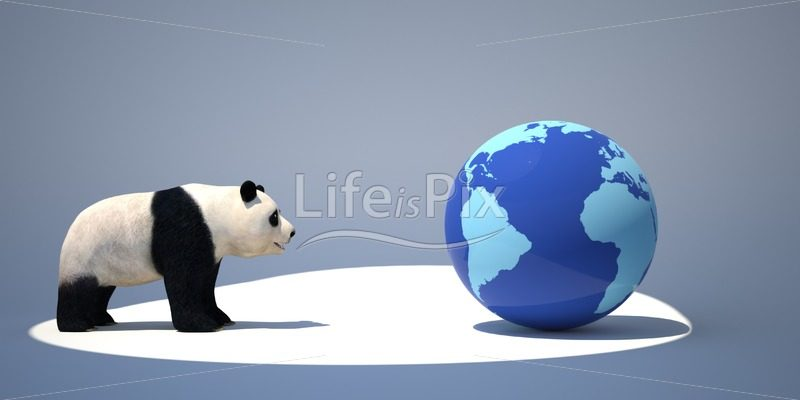 Bamboo bear and blue globe - Royalty free stock photos, illustrations and 3d letters fonts
