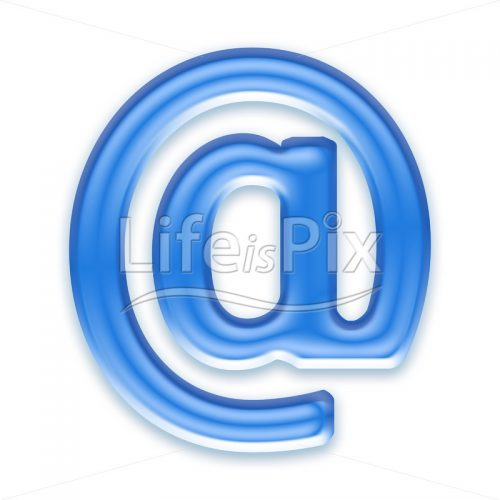 Blue aqua arobace sign on white background  – @ - Royalty free stock photos, illustrations and 3d letters fonts