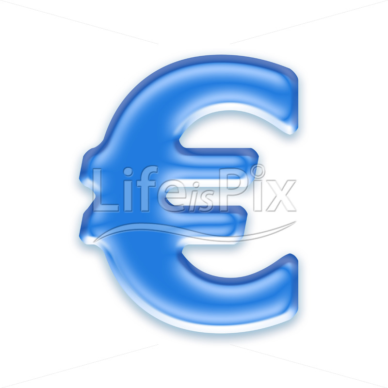 Blue aqua euro currency sign on white background  – ? – Blue aqua euro currency sign on white background  – - Royalty free stock photos, illustrations and 3d letters fonts