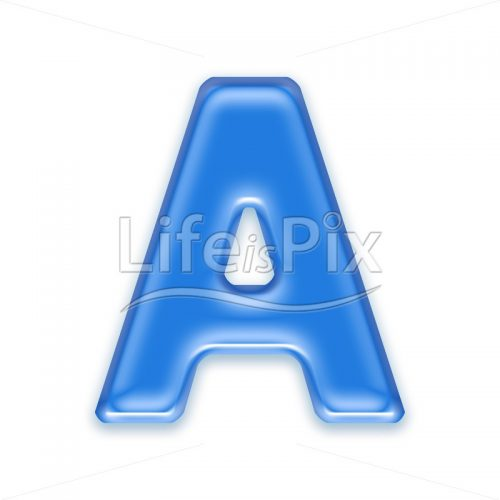 Blue aqua letter on white background  – Capital A – Royalty free stock photos, illustrations and 3d letters fonts