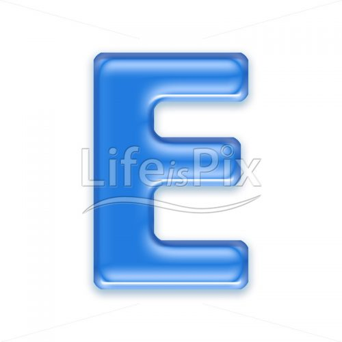 Blue aqua letter on white background  – Capital E – Royalty free stock photos, illustrations and 3d letters fonts