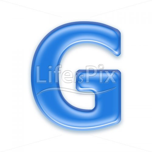 Blue aqua letter on white background  – Capital G – Royalty free stock photos, illustrations and 3d letters fonts
