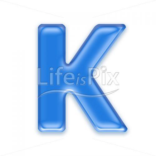 Blue-aqua-letter-on-white-background-Capital-K