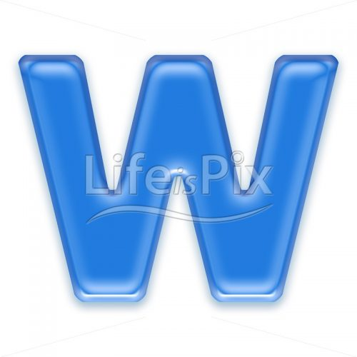 Blue aqua letter on white background  – Capital W – Royalty free stock photos, illustrations and 3d letters fonts
