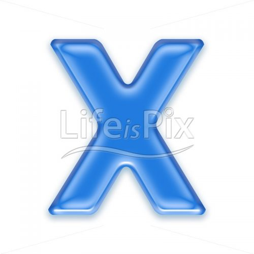 Blue-aqua-letter-on-white-background-Capital-X