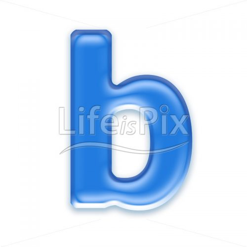 Blue aqua letter on white background  – Small b – Royalty free stock photos, illustrations and 3d letters fonts