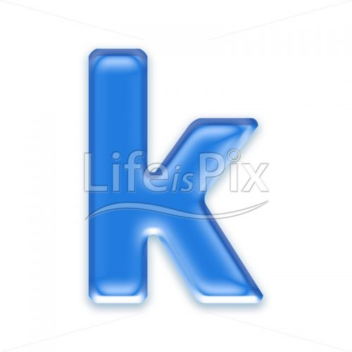 Blue aqua letter on white background  – Small k – Royalty free stock photos, illustrations and 3d letters fonts