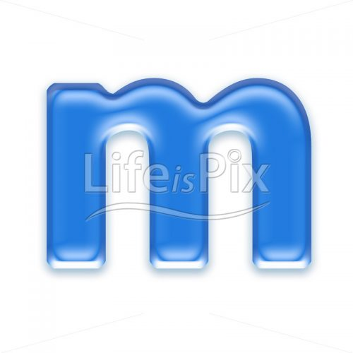 Blue aqua letter on white background  – Small m – Royalty free stock photos, illustrations and 3d letters fonts