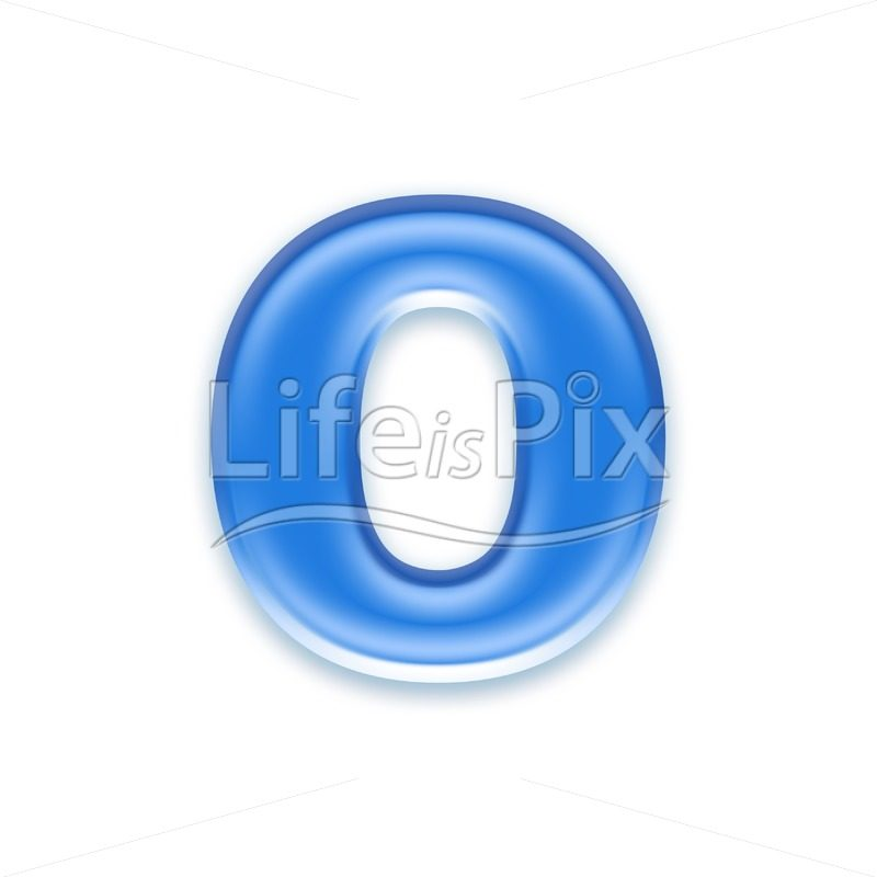 Blue aqua letter on white background  – Small o – Royalty free stock photos, illustrations and 3d letters fonts