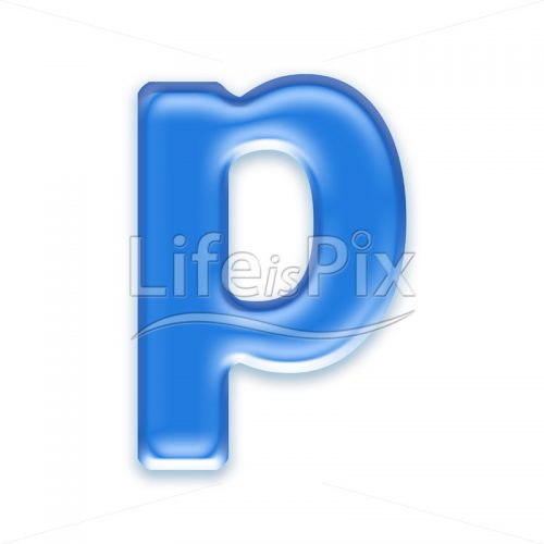 Blue aqua letter on white background  – Small p – Royalty free stock photos, illustrations and 3d letters fonts