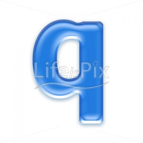Blue aqua letter on white background  – Small q – Royalty free stock photos, illustrations and 3d letters fonts