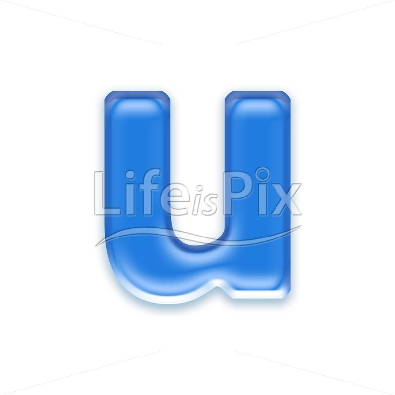 Blue aqua letter on white background  – Small u – Royalty free stock photos, illustrations and 3d letters fonts