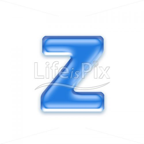 Blue aqua letter on white background  – Small z – Royalty free stock photos, illustrations and 3d letters fonts