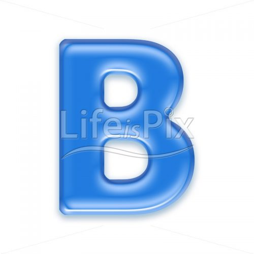 Blue letter on white background | Capital B - Royalty free stock photos, illustrations and 3d letters fonts