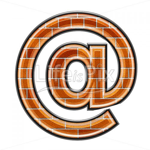 Brick arobas sign isolated on white background – Royalty free stock photos, illustrations and 3d letters fonts