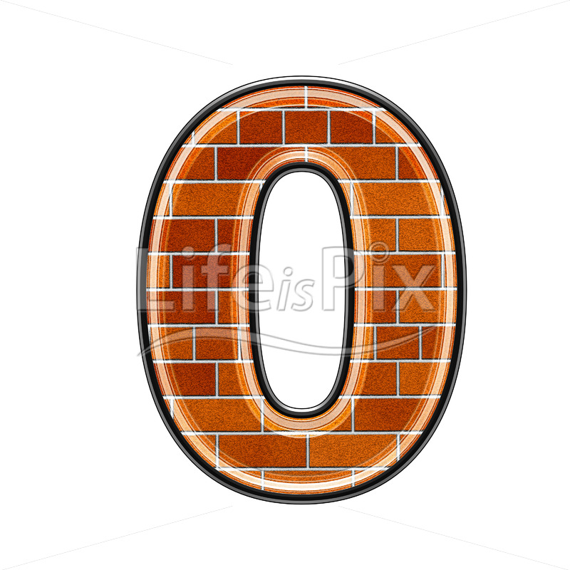 Brick digit isolated on white background – 0 – Royalty free stock photos, illustrations and 3d letters fonts