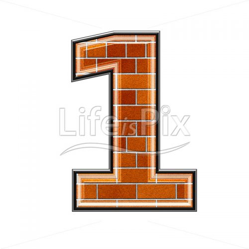 Brick digit isolated on white background – 1 – Royalty free stock photos, illustrations and 3d letters fonts