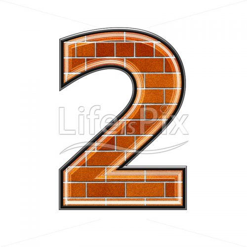 Brick digit isolated on white background – 2 – Royalty free stock photos, illustrations and 3d letters fonts