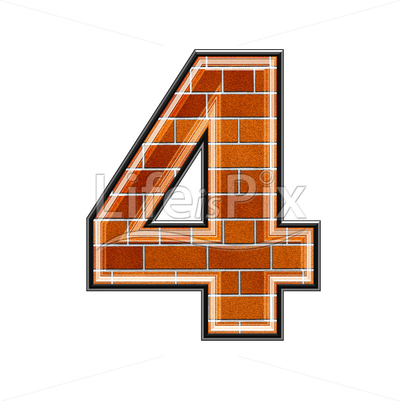 Brick digit isolated on white background – 4 – Royalty free stock photos, illustrations and 3d letters fonts
