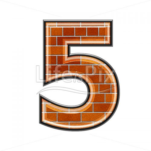 Brick digit isolated on white background – 5 – Royalty free stock photos, illustrations and 3d letters fonts