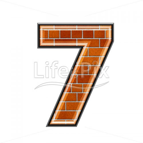 Brick digit isolated on white background – 7 – Royalty free stock photos, illustrations and 3d letters fonts