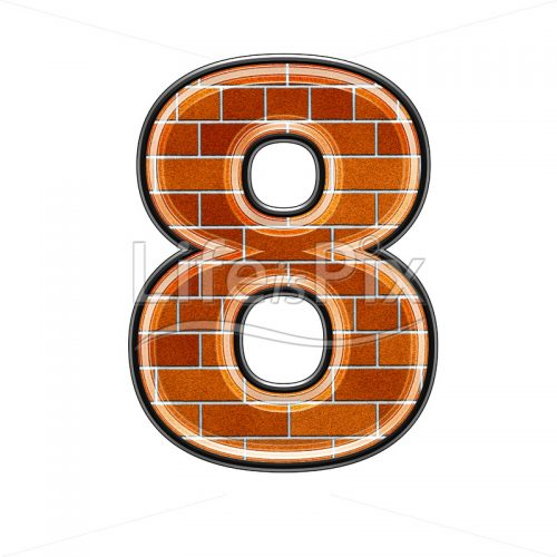 Brick digit isolated on white background – 8 – Royalty free stock photos, illustrations and 3d letters fonts