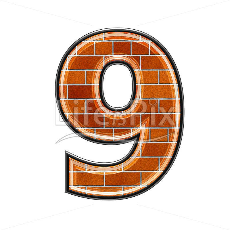 Brick digit isolated on white background – 9 – Royalty free stock photos, illustrations and 3d letters fonts