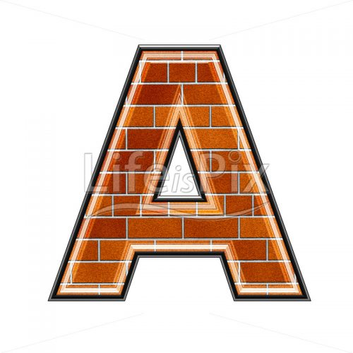 Brick letter isolated on white background – A – Royalty free stock photos, illustrations and 3d letters fonts