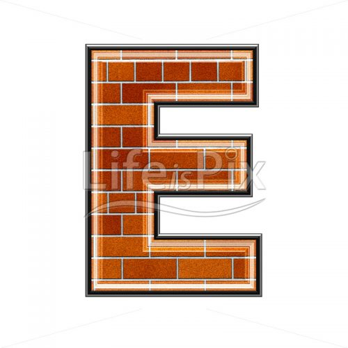 Brick letter isolated on white background – E – Royalty free stock photos, illustrations and 3d letters fonts